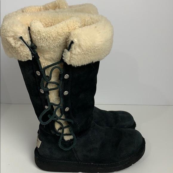 UGG lace up black sheepskin knee high flat…